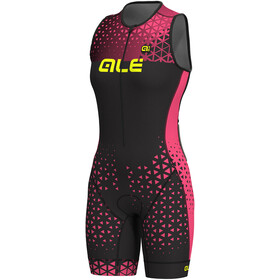 Alé Cycling Triathlon Rush Traje Triatlón Largo sin mangas Mujer, black flou pink